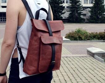 Leather backpack, leather backpack men, leather backpack woman, leather rucksack,  leather bag, leather laptop backpack, mens bag