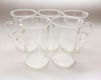 Glass Irish Coffee Mugs - Set of 5