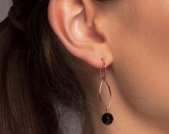 Gold or Silver Black Onyx Earrings, Black Drop Earrings, Gold Drop Earrings, Black Dangle Earrings