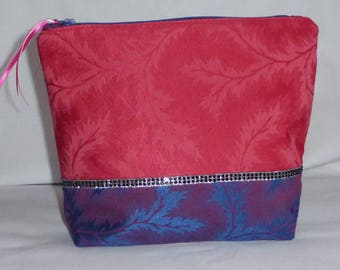 large blue and vermilion zipper pouch, lined pouch
