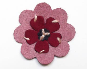 Applique deer embroidery old flower pink and Burgundy 7 cm