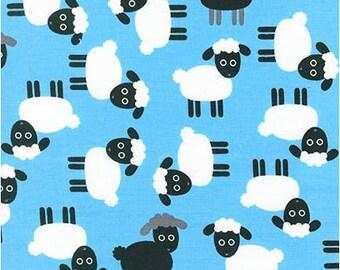 "Sheep on blue - Urban Zoologie - Robert Kaufman fabrics , 43-44"" wide, 100% cotton, by the half yard, sheep fabric, farm fabric"