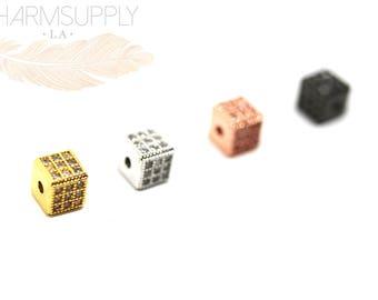 Micro-pave cz set cube 6mm bead