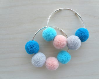 Pom pom aqua, peach, grey and blue hoop earrings