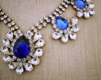 Beautiful Glamorous 1960s 60s Vintage Rhinestone Necklace