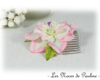 Green White Pink wedding flower comb