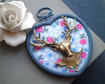 Vintage Flower Fabric & Deer Head Slate Blue Heart Frame Mini Wall Art - Retro Buck Antlers Floral Wall Hanging / Home Decor Holiday Gift