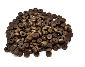 Lot 100 wooden 8 mm rondelle beads