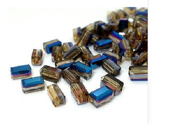 Set of 20 beads 8 mm blue rectangle glass crystals