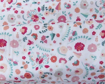 Printed cotton fabric * multicolored flower *.