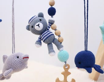 Bear the sailor baby gym toy. crochet baby rattle with wooden teether. Grey, navy, mint.