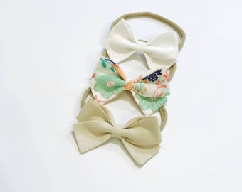 Charley peach mint navy mustard floral headband set newborn to girls