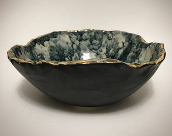 Marble and 22kt gold Stoneware Bowl