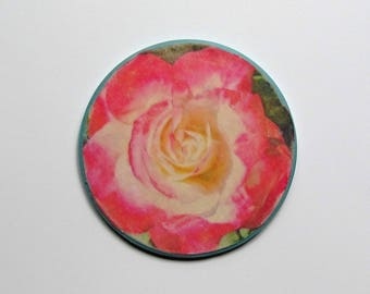 Rose Wood Sign, Rose Wall Accent, Rose Wall Art, Round Rose Sign, Rose Wall Decor, Pink Rose Wall Accent, Pink Rose Sign, Blooming Rose Sign