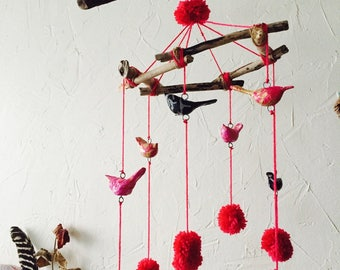 Mobile hanging birds and Christmas tassels