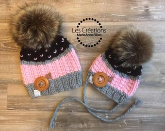 Made to order, Skettels Mini Duo. Mama raccoon fur Pompom hand knit