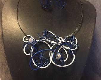 Anchor Navy aluminum wire jewelry set