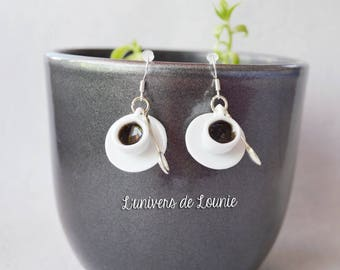 Coffee Cup porcelain handmade earrings