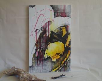 something evil died today • Disturbing Original Abstract Macro Art. Dark Art. Negative Space, Yellow and Black Hornet Wasp. Nature Wall Art.
