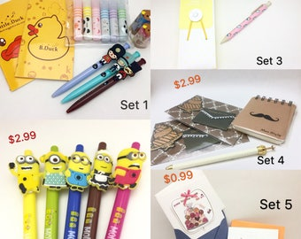 On Sale! Back to School Value Gift Sets Stationery Pen Pencil Eraser Cartoon Pencil Case Notebooks