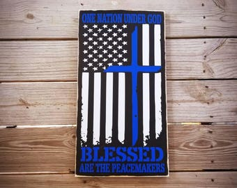 Blessed are the peacemakers 22x12 wood sign