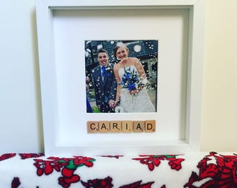 Scrabble Cariad welsh box photo frame - personalised with scrabble tiles