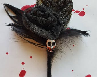 Zombie Prom Skull Boutonniere