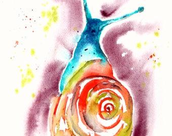 Snail Tale Gail  Watercolor Print of Original Painting, Watercolor Snail  painting, Snail  Painting