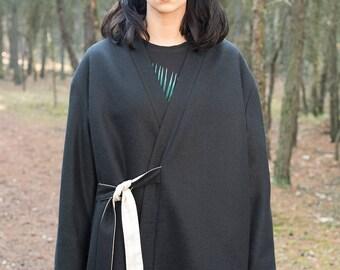 Black kimono style coat