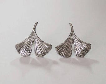 ginkgo earrings, nature earrings, silver earrings, leaf earrings, ginkgo biloba leaf, gift for her, ginkgo, ginkgo jewelry, ginkgo leaf