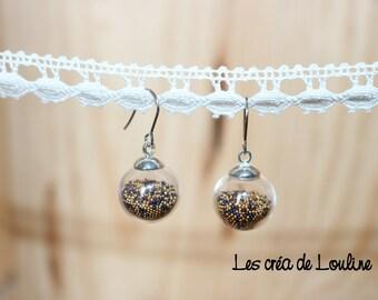 Black and gold microbeads globe earrings