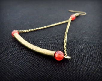 Tube earrings curved brass and red beads