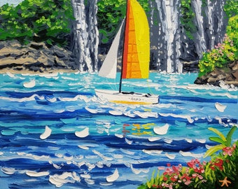 Boat painting, canvas painting ocean, decorative wall decor, by Ryan Kimba