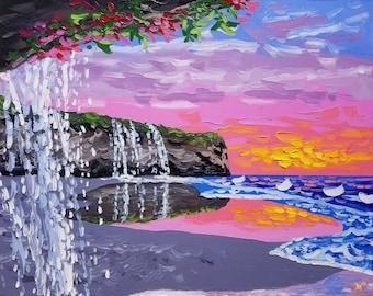 Original waterfall painting, textured knife art canvas, by beach artist Ryan Kimba