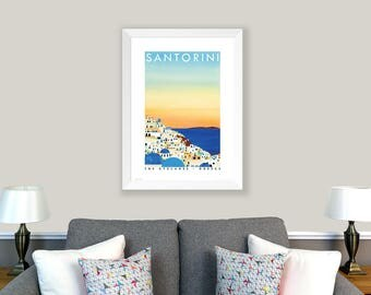 POSTER Santorini, The Cyclades, Greece. Print of original collage. Home decor, wall art, Greek islands, sunset, holiday, orange, blue, white
