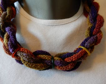 Colorful choker, knitted by me. Playful effect.