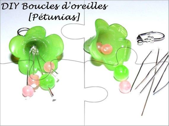 """DIY"" Kit earrings to make self same [Petunias green and pink]"