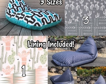 Bean Bag Chair or Lounger - Choose Your Size and Pattern - Waterproof Lining Included