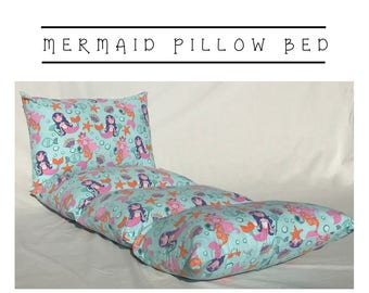 Girls Nap Mat ~ Preschool Nap Mat ~ Toddler Nap Mat ~ Mermaid Pillow Mattress ~ Kids Nap Mat ~ Girls Pillow Bed ~ Mermaid Decor