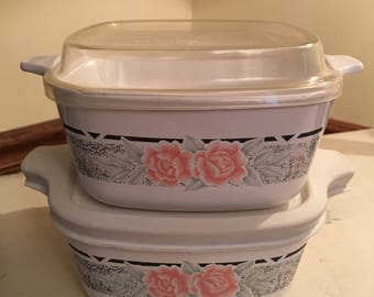 Vintage Corning Ware Roses 700ml Containers