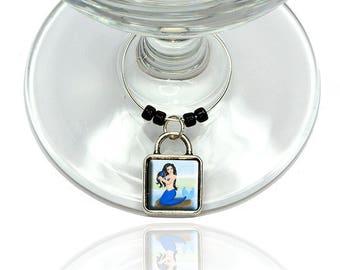 Beautiful Mermaid Wine Glass Drink Marker Charm Ring