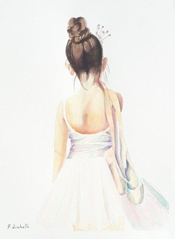 Dancer, giclee' print of an original watercolor, child's birthday, special gift, girls bedroom decoration, contemporary art, wall decore.