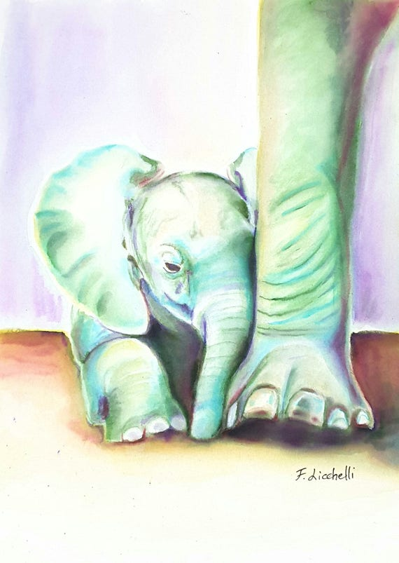 Lucky elephants, watercolor, A5 giclle fine art print, original painting, home office decoration, contemporary art, baby shower gift idea.