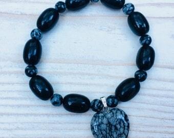 Obsidian bracelet, black beads bracelet, stretch bracelet, semi precious stone beads