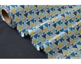 tissu popeline coton imprimé dessin tigaya bleu x50cm