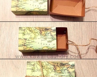 100 Simply Vintage Inspired Boho Traveling World Map Thank You Wedding Graduation Party Favor Guest Event Kraft Boxes