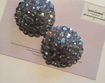 Silver AB Crystal Swirl Pasties