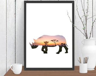Rhino Print, African Rhinoceros Nursery Print, Adventure Wall Art, Wild Animal Print, Kids Room Art A3 A2 11x14 12x18 16x20
