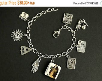 BACK to SCHOOL SALE Tarot Bracelet. The Hermit Charm Bracelet. Divination Bracelet. Silver Bracelet. L' Eremita Bracelet. Tarot Jewelry. Met