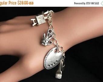 BACK to SCHOOL SALE Artist Bracelet. Charm Bracelet. Art Bracelet. Creativity Bracelet. Painter Bracelet. Silver Bracelet. Handmade Jewelry.